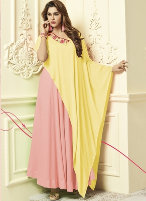 Pink Rayon Designer Long Party Wear Kurti