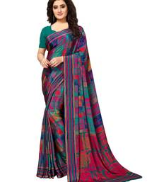 Buy Multicolor Printed Crepe Saree With Blouse printed-saree online