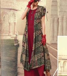 Maroon Rayon Designer Long Party Wear Kurti