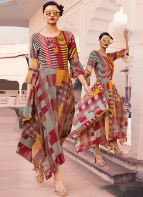 Multicolor Rayon Designer Long Party Wear Kurti