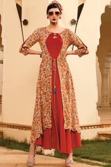 6bc85feec5b Red Rayon Designer Long Party Wear Kurti