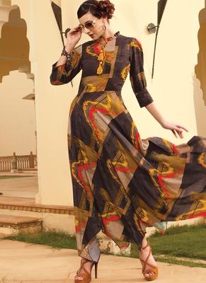 Multicolor Rayon Designer Long Party Wear Kurti