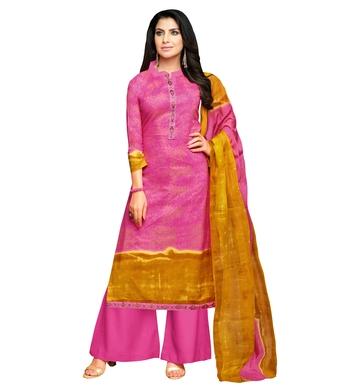 Pink Embroidered Cotton Blend Unstitched Salwar With Dupatta