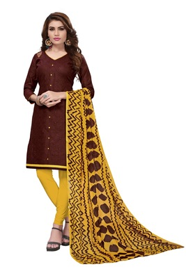 Brown Embroidered Cotton Blend Unstitched Salwar With Dupatta