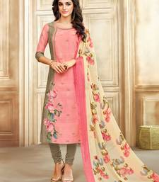 Buy Pink Foil Printed Chanderi Cotton  Unstitched Salwar With Dupatta dress-material online