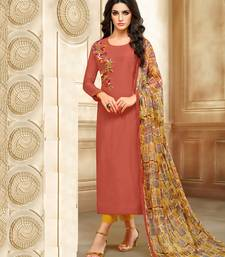 Buy Rust Embroidered Chanderi Unstitched Salwar With Dupatta dress-material online