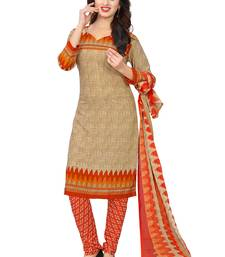 Buy Beige Solid Crepe Unstitched Salwar With Dupatta dress-material online