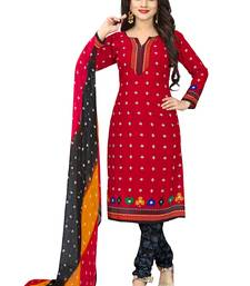 Buy Red Solid Crepe Unstitched Salwar With Dupatta dress-material online
