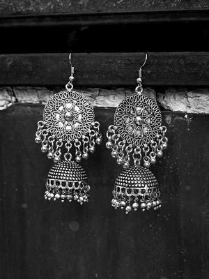 ZeroKaata Hearts And Everything Pretty Embellished Tribal Jewellery Jhumki Earrings