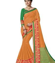Orange woven banarasi art silk saree with blouse