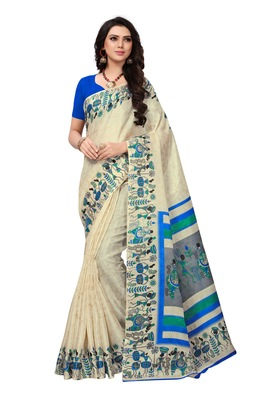 Beige printed khadi saree with blouse