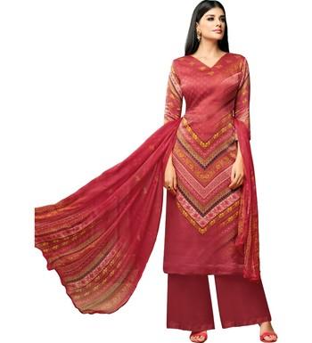 f62d766369 Maroon Satin Cotton Printed Unstitched Dress Material - Mf Next Com -  2733709