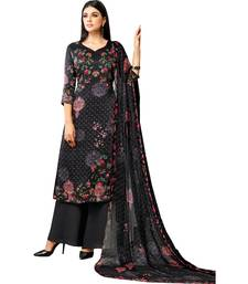 Buy Black Satin Cotton Printed Unstitched Dress Material palazzo online
