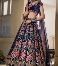 Blue Velvet Semi Stiched Embroidered Lehenga Choli With Unstitched Blouse
