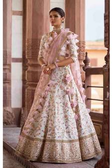 31d2cce083015e White Silk Semi Stiched Embroidered Lehenga Choli With Unstitched Blouse