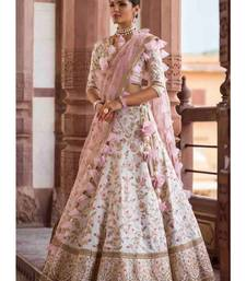 White Silk Semi Stiched Embroidered Lehenga Choli With Unstitched Blouse