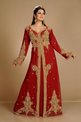 Maroon Dubai Morocan Arabic Islamic Kaftan Dress