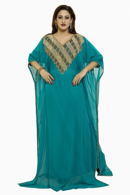 Sea Green Gandura Dubai Moroccan Arabic Traditional Party Thobe Kaftan