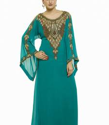 Sea Green Royal  Moroccan Dubai Beautiful Zari Work Jilbab Jalabiya Kaftan Dress