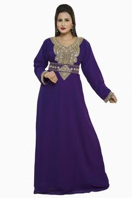 Purple New Moroccan Arabic Islamic Party Wear Party Dress For Women