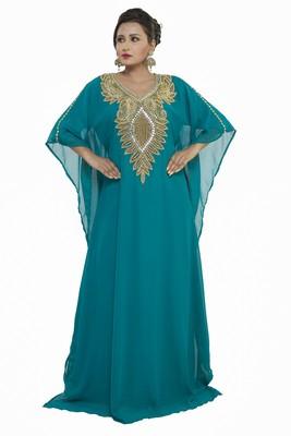 Sea Green Eid Dubai Kaftan Dress Moroccan Kaftan Dress