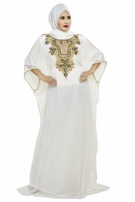 Off white Beautiful Moroccan Islamic Wedding Gown Party Wear Gown For Women