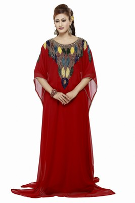 Red Dubai Morocan Arabic Islamic Kaftan Dress