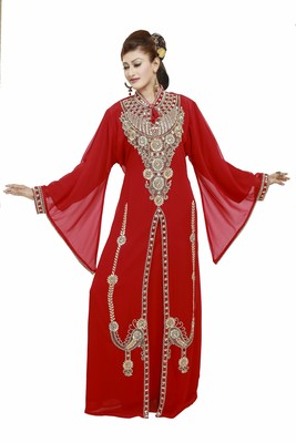 Red Modern Islamic Arabic Kaftan Dress For Weddin Gown Party Wear Dress