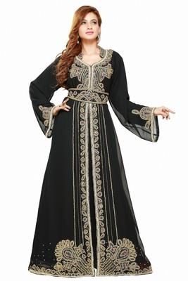 Black 2018 Ramadan Eid Moroccan Kaftan Islamic Moroccan Jalabiya Dress