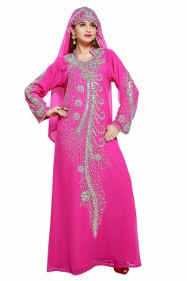 Pink Eleagnt Modern Arabic Kaftan Dress For Women Wedding Gown