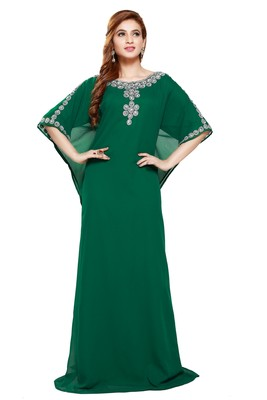 Green Beautiful Moroccan Islamic Wedding Gown Party Wear Gown For Women