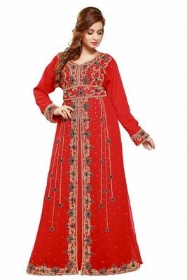 Red Eid Dubai Kaftan Dress Moroccan Kaftan Dress
