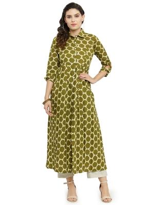 Indibelle Green woven cotton kurti with trouser