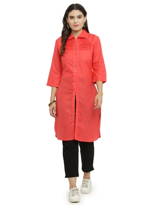 Pink woven rayon kurti with trouser