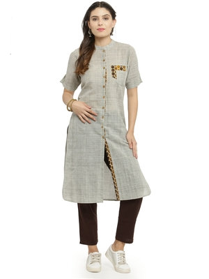 Grey woven cotton kurti with trouser