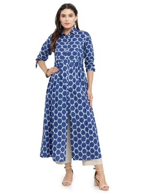Indibelle Blue woven cotton kurti with trouser