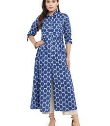 Indibelle Blue woven cotton kurti with trouser