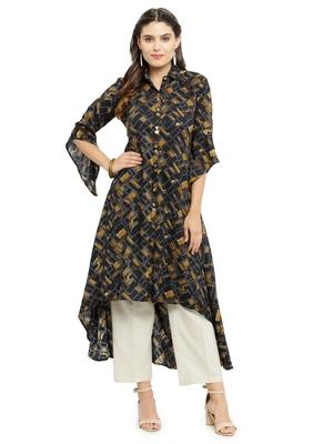 Black woven rayon kurti with trouser