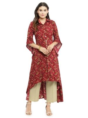 Indibelle Maroon woven cotton kurti with trouser