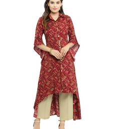 Maroon woven cotton kurti with trouser