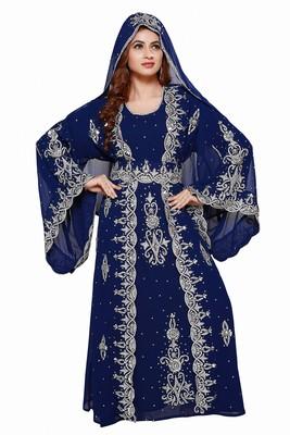 Navy Blue Royal  Moroccan Dubai Beautiful Zari Work Jilbab Jalabiya Kaftan Dress