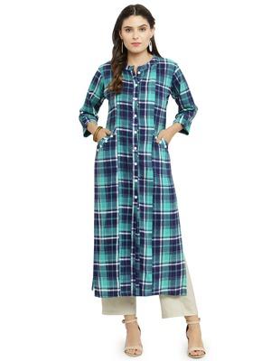 Green woven rayon kurti with trouser