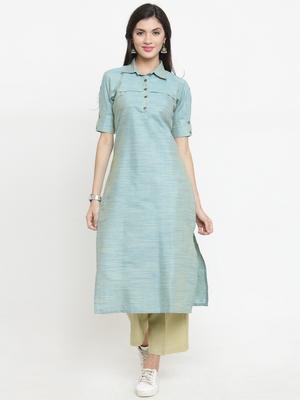 Indibelle Turquoise woven cotton kurti with trouser