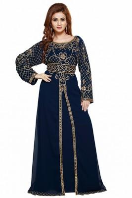 Navy Blue Ethinc Women Arabic Elegant Lowest For Daily Use Kaftan