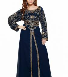 Navy Blue Ethinc Women Arabic Elegant Lowest For Daily Use Kaftan