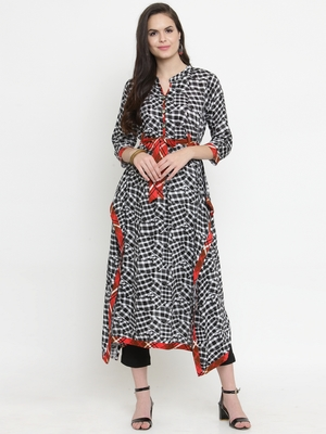 Indibelle Black woven rayon kurti with trouser