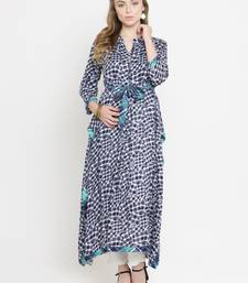 Dark-blue woven rayon kurti with trouser