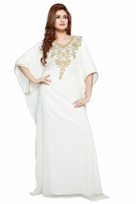 White Modern Islamic Arabic Kaftan Dress For Wedding Gown Party Wear Dress