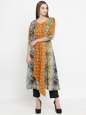 Indibelle Grey woven rayon kurti with trouser