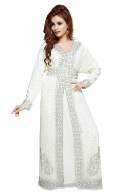 Off white New Moroccan Arabic Islamic Party Wear Party Dress For Women